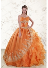 Elegant Strapless Appliques 2015 Quinceanera Dresses in Orange