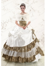 Elegant Strapless Leopard Quinceanera Dresses with Hand Made Flower