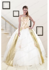 Elegant Strapless White 2015 Quinceanera Dresses with Appliques