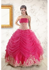 Exquisite Lace Appliques Hot Pink  Quinceanera Gowns for 2015