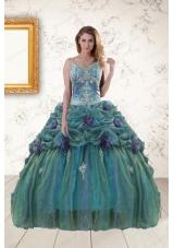 Fashionable Straps Appliques Quinceanera Dresses for 2015