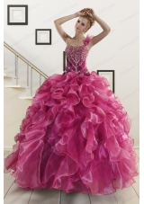 In Stock Beading One Shoulder Sweet 16 Dresses in Fuchsia