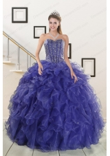In Stock Pretty Sweetheart Purple Quinceanera Dresses with Beading and Ruffles