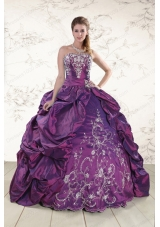 In Stock Strapless Embroidery Quinceanera Dresses in Purple