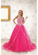 2015 Cheap Hot Pink Quinceanera Dresses with Beading and Appliques