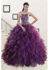 2015 Cheap Purple Quinceanera Dresses with Beading and Ruffles