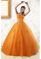 2015 Fashionable Princess Orange Quinceanera Dresses with Appliques