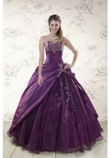 2015 Fashionable Purple Sweetheart Appliques Quinceanera Dresses