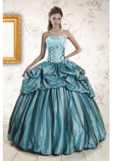 2015 Fashionable Strapless Pick Ups Quinceanera Dresses in Teal