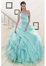 Beading and Ruffles Cheap Quinceanera Dresses in Turquoise for 2015