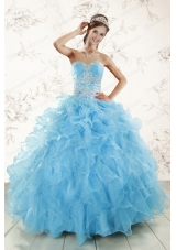 Cheap Aqua Blue Ball Gown Sweetheart Beading Sweet 16 Dresses