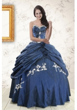 Cheap Sweetheart Ball Gown Quinceanera Dresses in Navy Blue