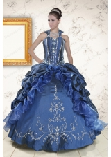Cheap Sweetheart Navy Blue Quinceanera Dresses with Beading