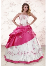 Fashionable Embroidery Sweet 15 Dresses in White and Hot Pink
