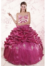 Most Popular Appliques  Quinceanera Gowns with Spaghetti Straps