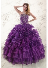 Most Popular Purple Strapless 2015 Quinceanera Gowns with Appliques