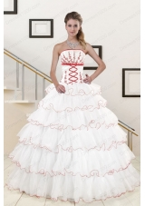 Most Popular Ruffeld Layers 2015 Quinceanera Gowns with Appliques