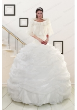Most Popular White Strapless 2015 Quinceanera gowns with Beading