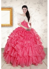 New Style Beading and Ruffles 2015 Hot Pink Quinceanera Dresses with Strapless