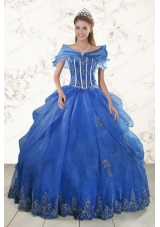 2015 New Style  Appliques Quinceanera Dresses in Royal Blue