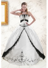 2015 New Style  Embroidery Quinceanera Dresses in White and Black