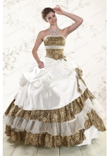 2015 New Style Leopard Quinceanera Dresses with Hand Made Flower