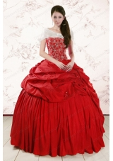2015 New Style  Sweetheart Beading Quinceanera Dresses in Red