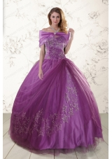 New Style Purple Sweetheart Appliques 2015 Quinceanera Dresses with Embroidery
