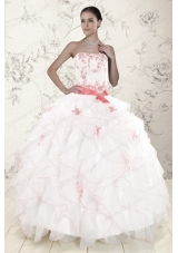 New Style White Quinceanera Dresses with Pink Appliques and Ruffles