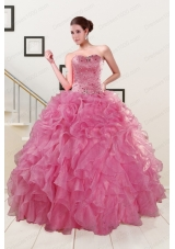 Pink 2015 New Style Quinceanera Dresses Sweetheart with Ruffles