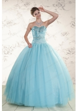 Most Popular Beading 2015 Quinceanera Gowns in Baby Blue