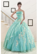 Most Popular Blue Quinceanera Gowns with Appliques for 2015