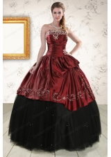 Most Popular Embroidery 2015 Quinceanera Gowns in Rust Red and Black