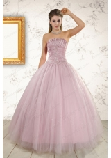 Most Popular Light Pink Strapless Elegant Quinceanera Gowns with Appliques