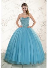 fashionable Ball Gown Beaded Quinceanera Dress in Baby Blue