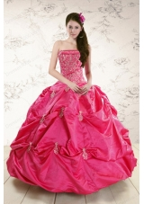 fashionable Strapless Hot Pink Quinceanera Dress with Appliques for 2015