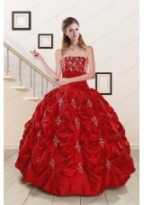 fashionable Sweetheart Appiques and Beaded 2015 Quinceanera Dresses in Red