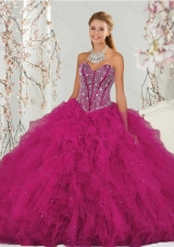 Designer and  Detachable Beading and Ruffles Dresses for Quince in Red for 2015