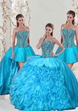 Detachable and Designer Aqua Blue Sweet 15 Dresses with Beading and Ruffles for 2015