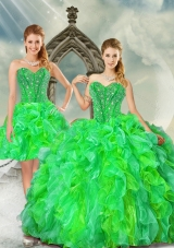 2015 Detachable and New Style Beading and Ruffles Dresses for Quince in Multi Color