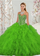 2015 Fashionable Beading and Ruffles Spring Green Sweet 15 Dresses