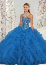 2015 Most Popular Beading and Ruffles Aqua Blue Quince Dresses
