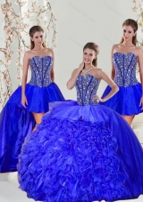 Detachable and Elegant Beading and Ruffles Sweet 16 Dresses in Royal Blue for 2015