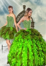 Detachable and Fashionable Beading and Ruffles Multi Color Dresses for Quince