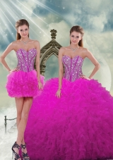 Detachable and Luxurious Quinceanera Dresses with Beading and Ruffles in Fuchsia for 2015 Spring