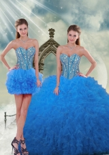 Detachable and Most Popular Aqua Blue Sweet 16 Dresses with Beading and Ruffles