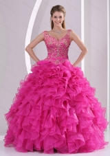 Most Popular Hot Pink Quince Dresses with Beading and Ruffles for 2015