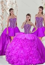 2015 Beading and Ruffles Fuchsia  Detachable and Vestidos de Quinceanera Dresses