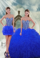 Detachable and New Style Royal Blue Quinceanera Dresses with Beading and Ruffles for 2015 Spring