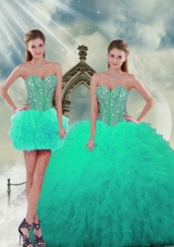 2015 Beading and Ruffles Detachable and Vestidos de Quinceanera Dresses